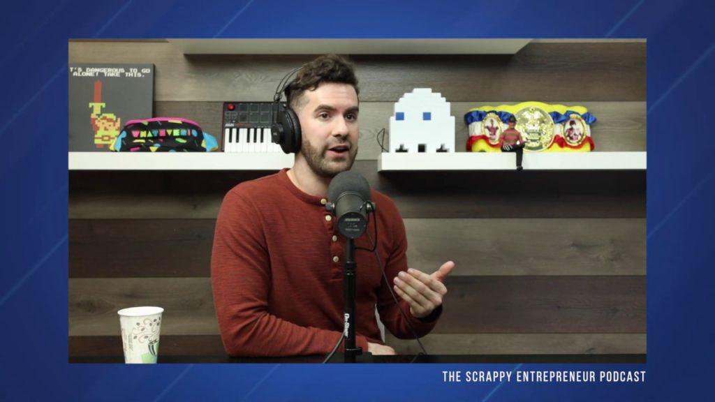 Zachary Krassin, recording a podcast